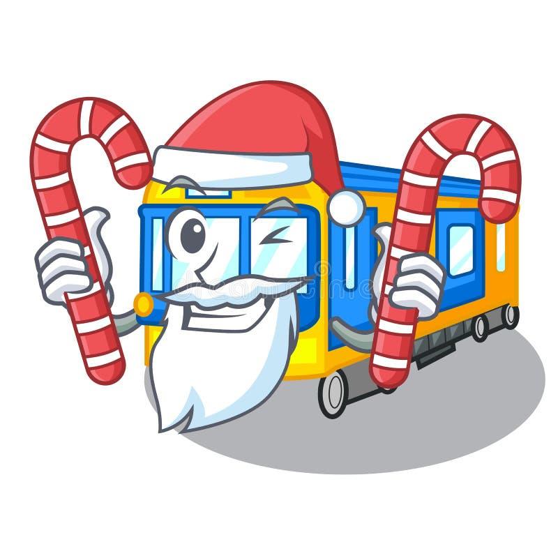 Santa com desenhos animados diminutos do metro dos doces acima da tabela ilustração royalty free