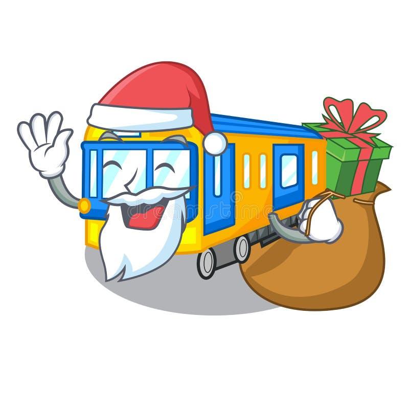 Santa com desenhos animados diminutos do metro do presente acima da tabela ilustração stock