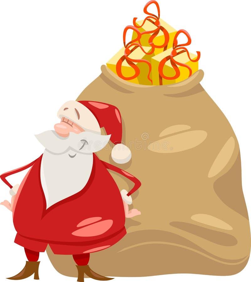 Santa com ilustração dos desenhos animados dos presentes ilustração stock