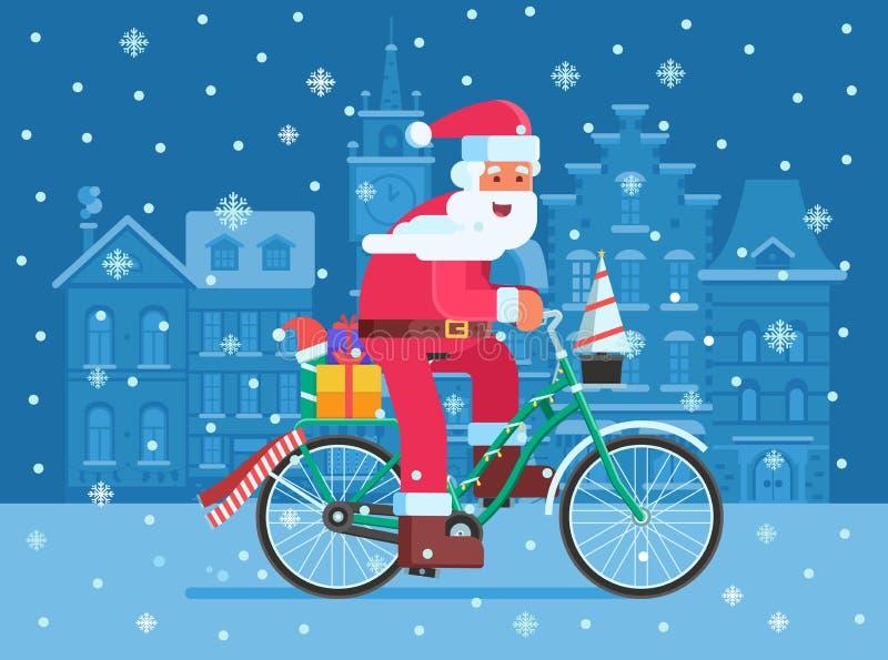 Santa com o saco do presente na bicicleta do Natal ilustração royalty free