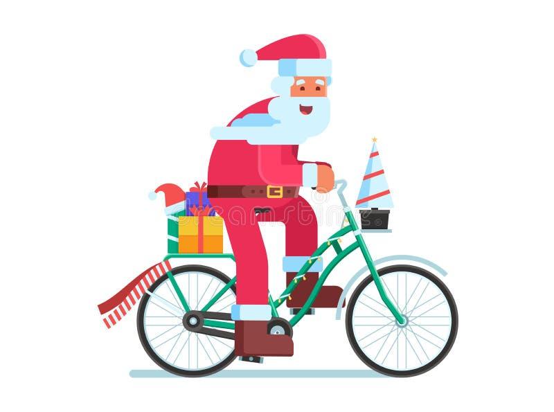 Santa com o saco do presente na bicicleta do Natal ilustração do vetor
