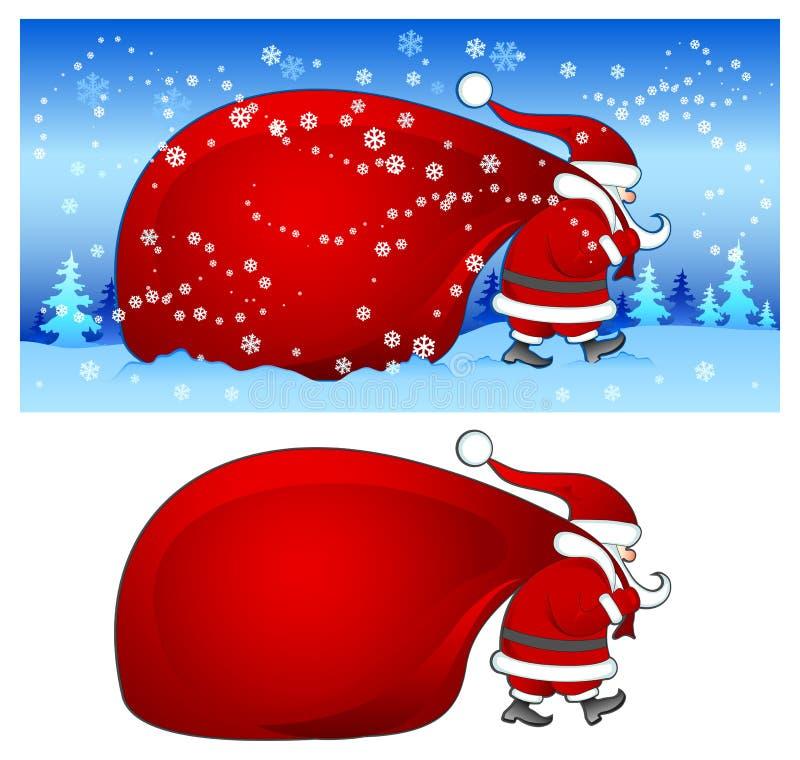 Santa com o saco no azul ilustração stock