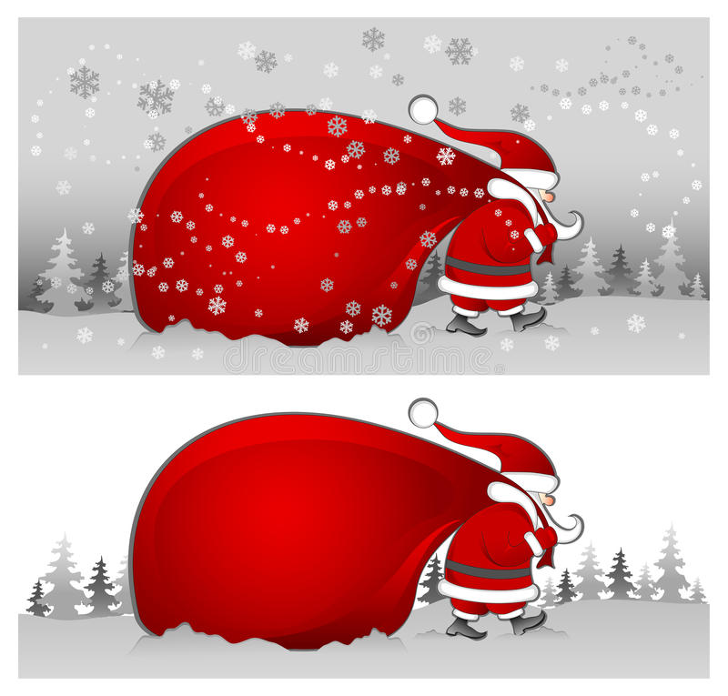Santa com o saco no cinza ilustração do vetor