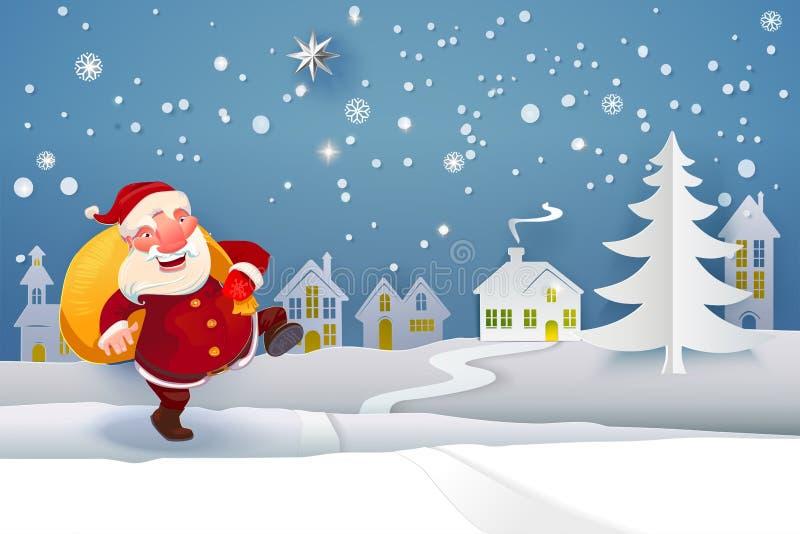 Santa com os presentes que vão na noite ilustração royalty free