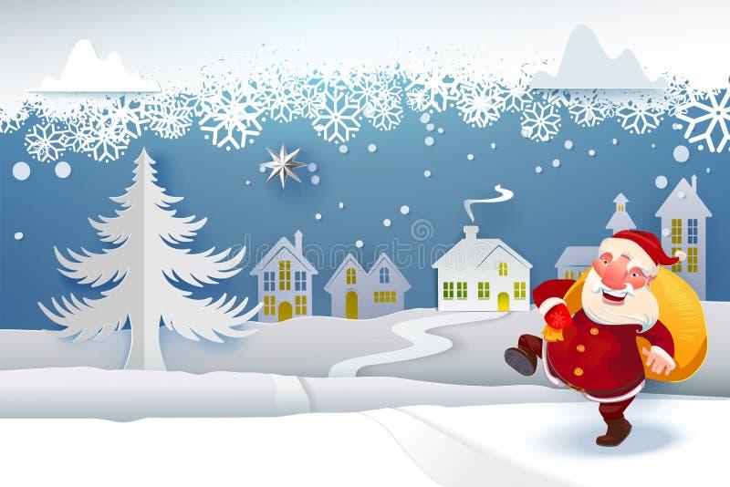 Santa com os presentes que vão sob a neve ilustração stock