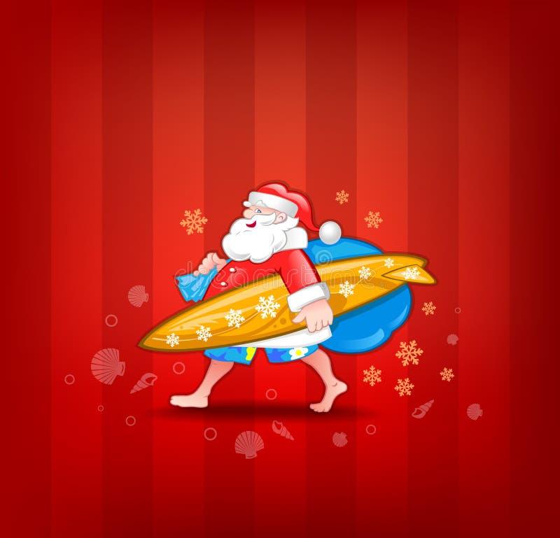 Santa com prancha ilustração royalty free