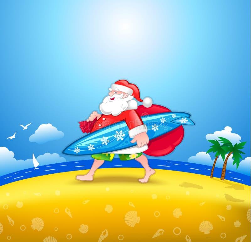 Santa com prancha ilustração do vetor