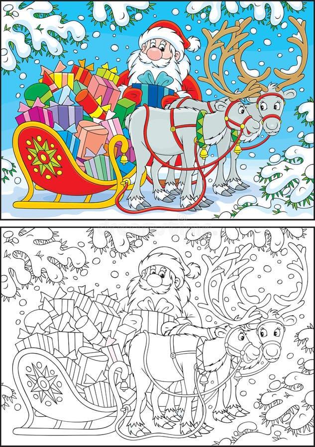 Santa com presentes do Natal ilustração royalty free