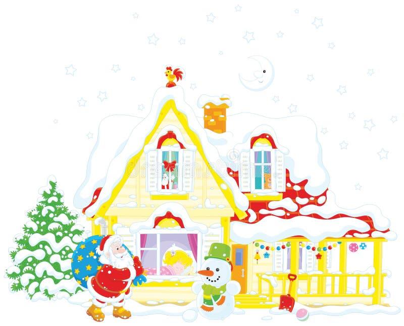 Santa com presentes do Natal ilustração do vetor