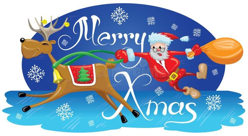 Santa com rena ilustração do vetor
