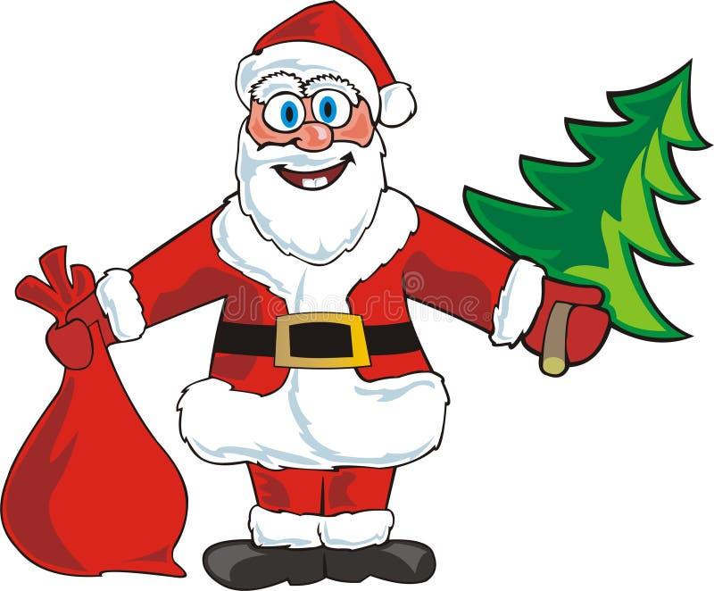 Santa com saco ilustração royalty free