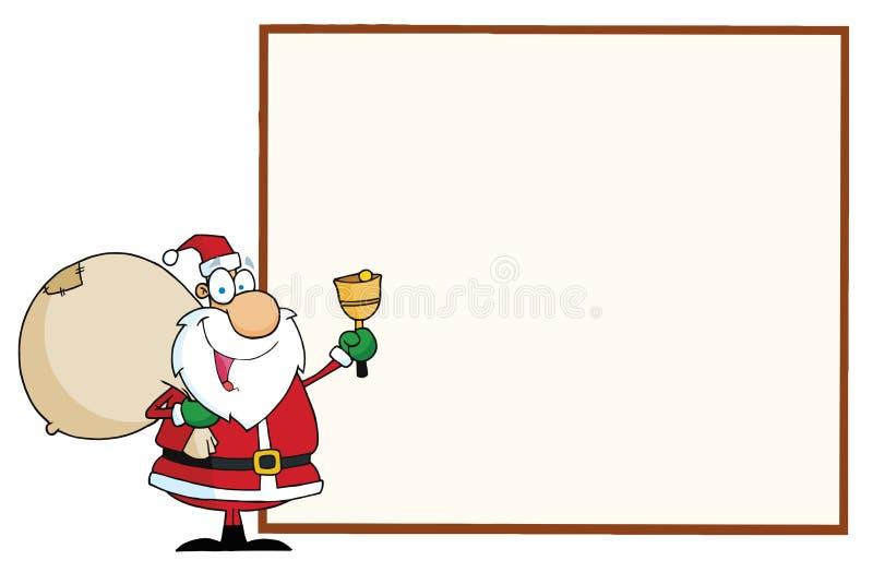 Santa com um sinal em branco ilustração stock