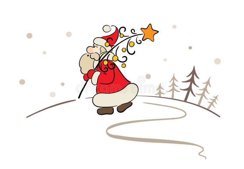 Santa com uma árvore de Natal ilustração royalty free