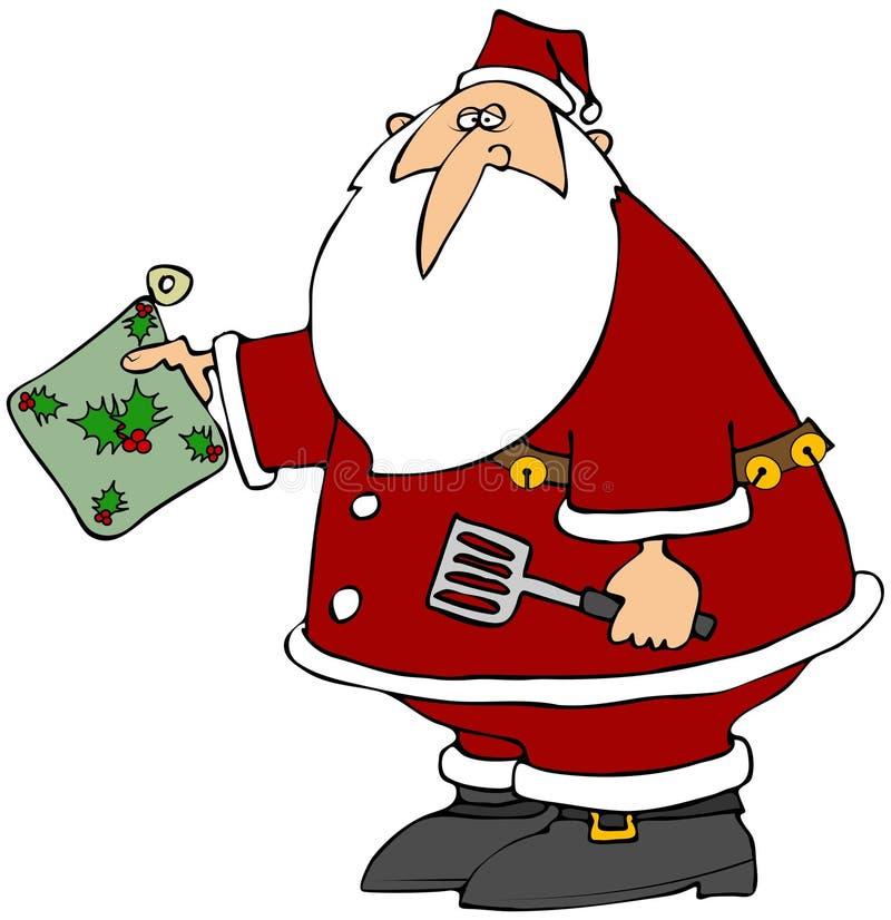 Santa com uma almofada quente ilustração do vetor