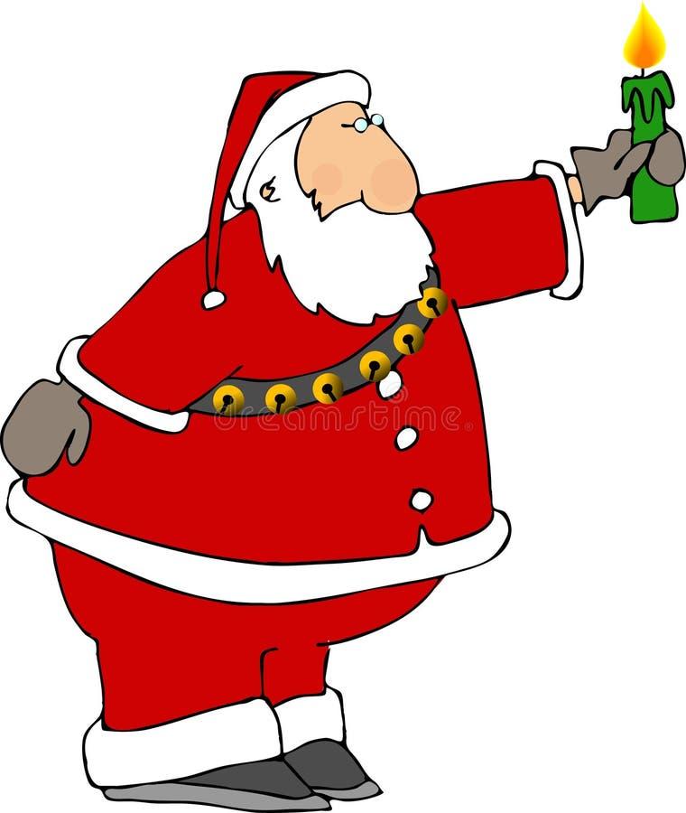 Santa com uma vela ilustração stock