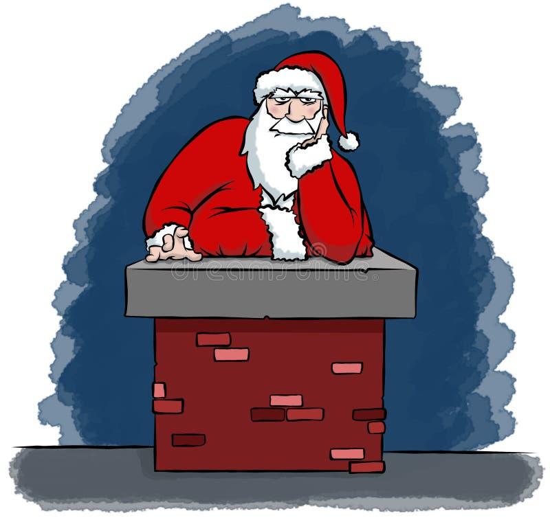 Santa começ furada em uma chaminé ilustração do vetor