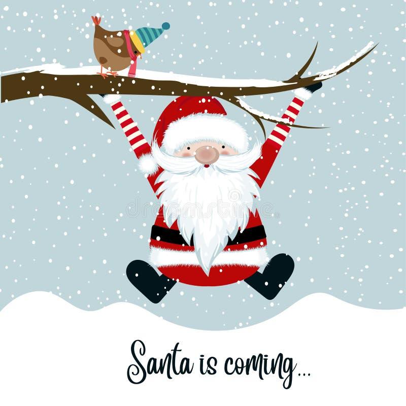 Santa is coming. Funny Christmas illustration royalty free illustration
