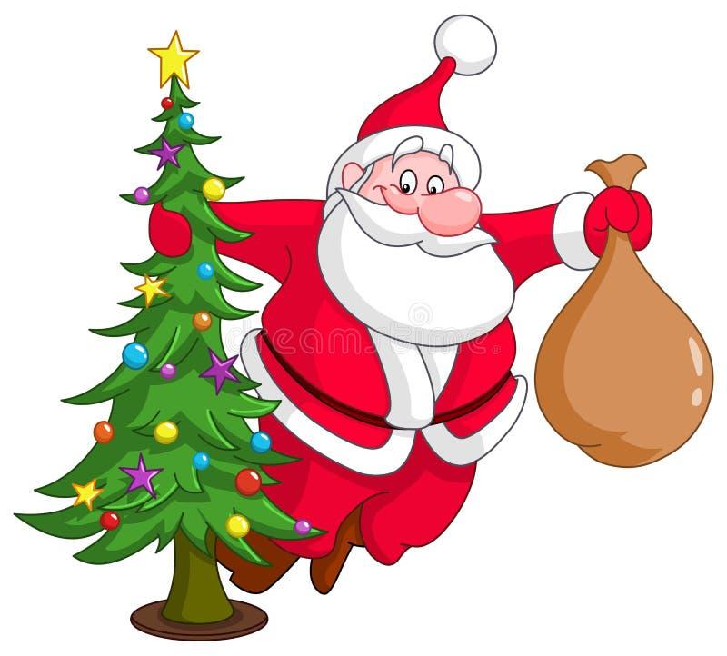 Santa con el árbol de navidad libre illustration
