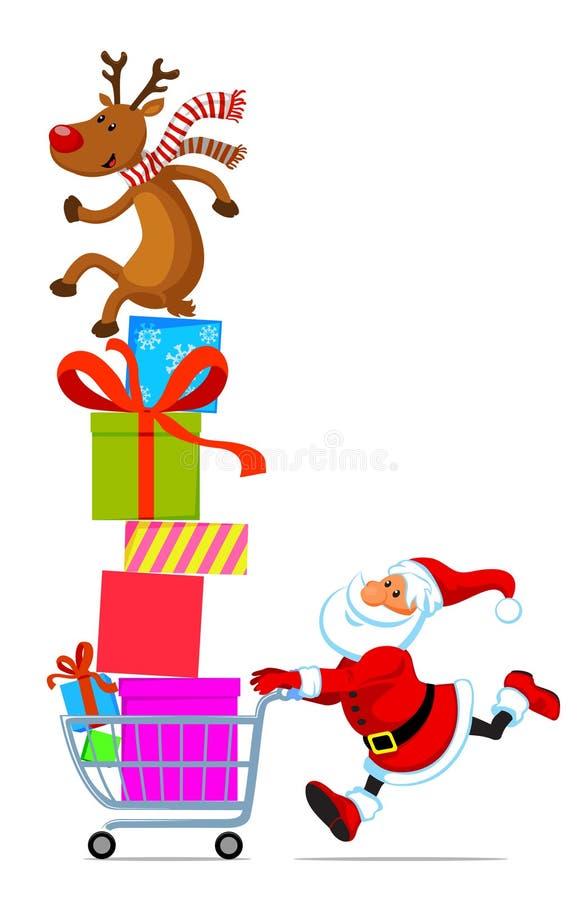 Santa con el carro de compras por completo de regalos stock de ilustración