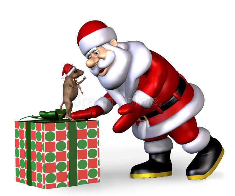 Santa con el ratón de la Navidad - con el camino de recortes stock de ilustración