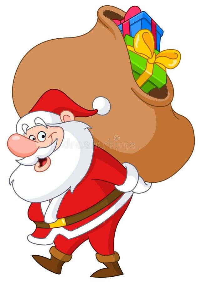 Santa con el saco ilustración del vector