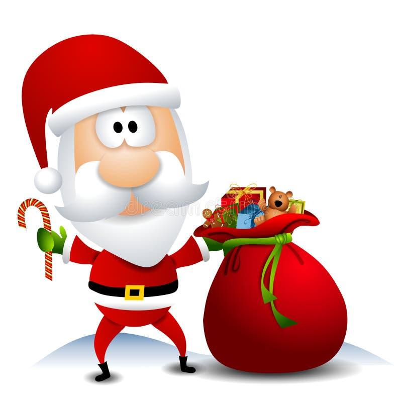 Santa con el saco lleno de juguetes stock de ilustración