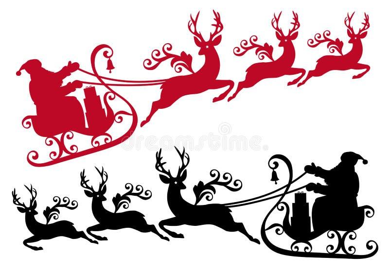 Santa con el trineo y reno,   stock de ilustración
