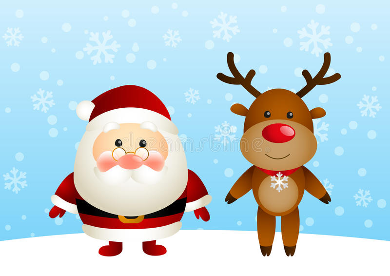 Santa con i cervi divertenti illustrazione di stock