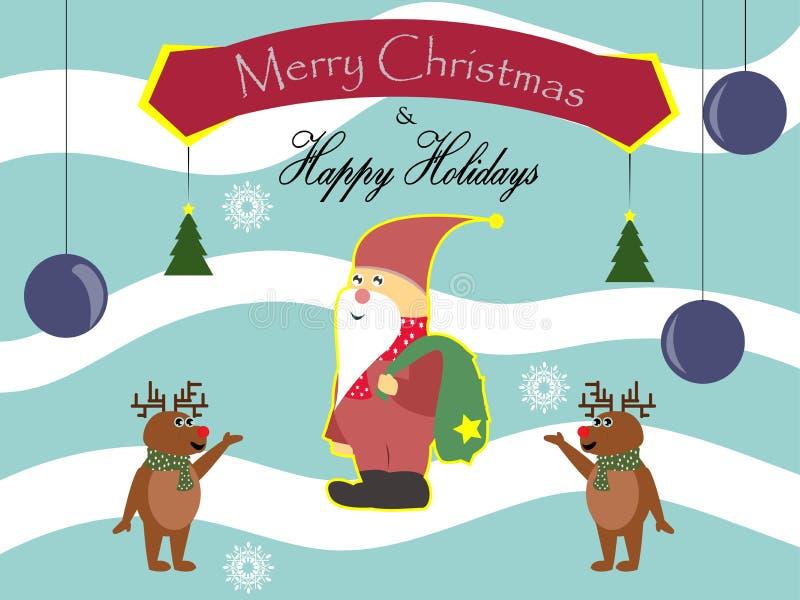 Santa con i cervi vi augura il Buon Natale ed i fiocchi di neve felici di feste nel fondo immagini stock