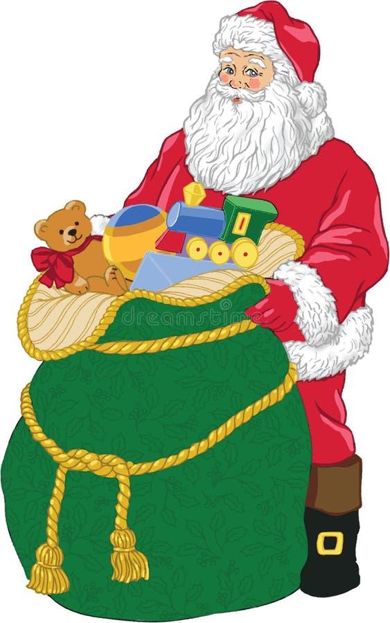Santa con i giocattoli. royalty illustrazione gratis