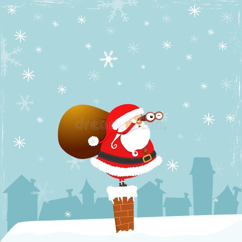Santa con il binocolo royalty illustrazione gratis