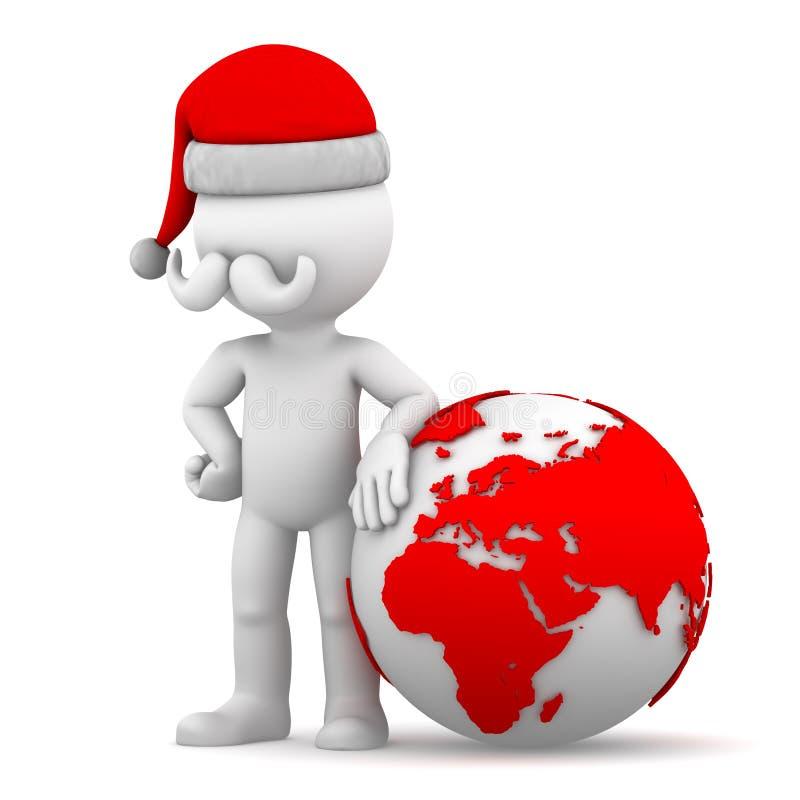 Santa con il globo della terra illustrazione di stock