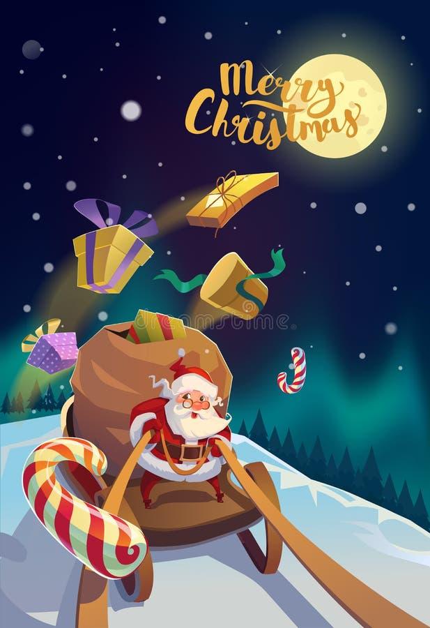 Santa con il mazzo di presente che guidano su una slitta alle luci polari della foresta di inverno ai precedenti Buon Natale royalty illustrazione gratis