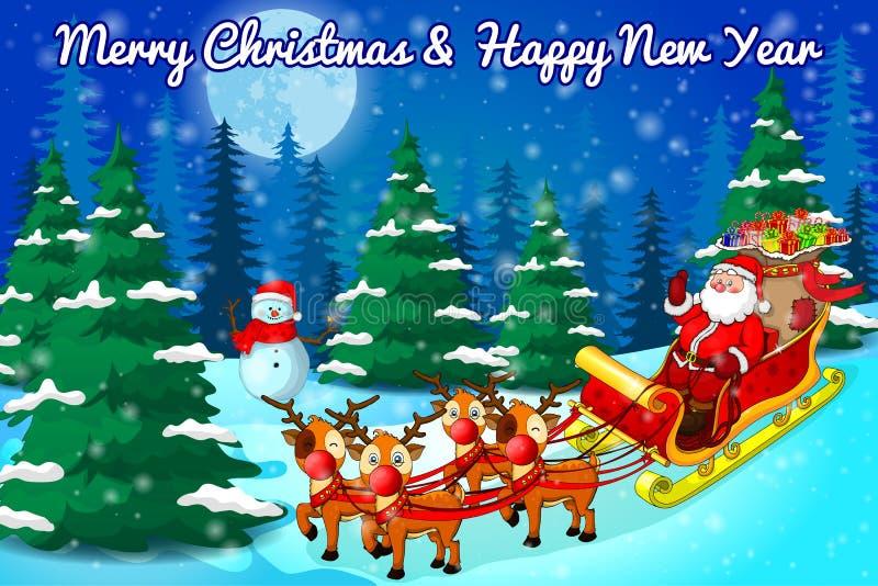 Santa con il mazzo di presente che guidano su una slitta nell'iscrizione di Buon Natale della foresta di inverno Illustrazione di illustrazione vettoriale