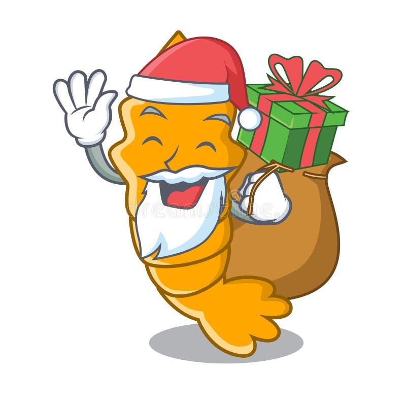 Santa con il regalo ha cotto a vapore il gamberetto crudo fresco sul fumetto della mascotte illustrazione di stock