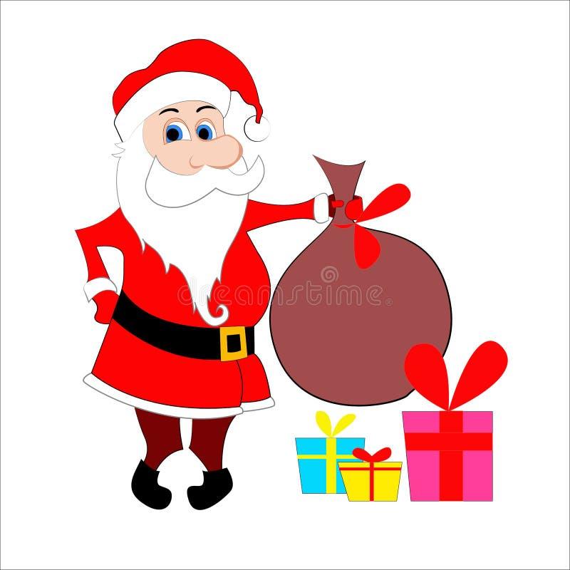 Santa con il sacco illustrazione vettoriale
