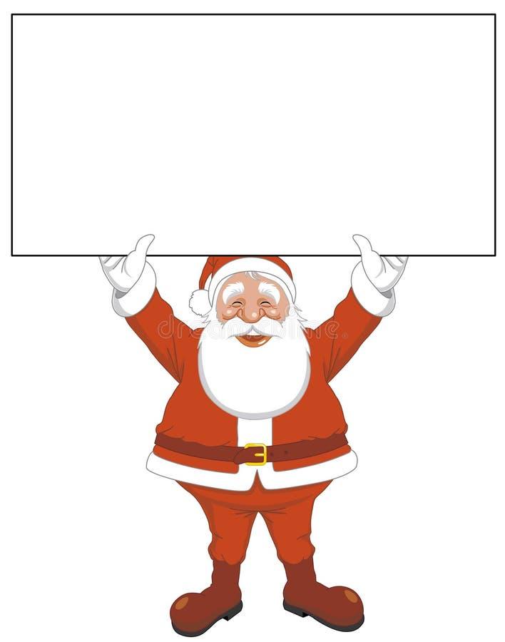 Santa con il segno in bianco illustrazione vettoriale