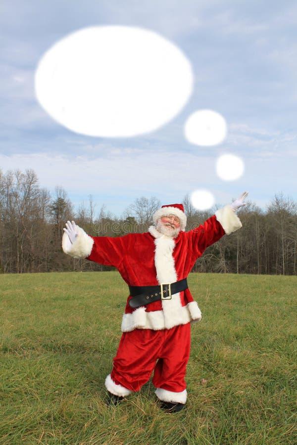 Santa con la burbuja del pensamiento fotos de archivo libres de regalías