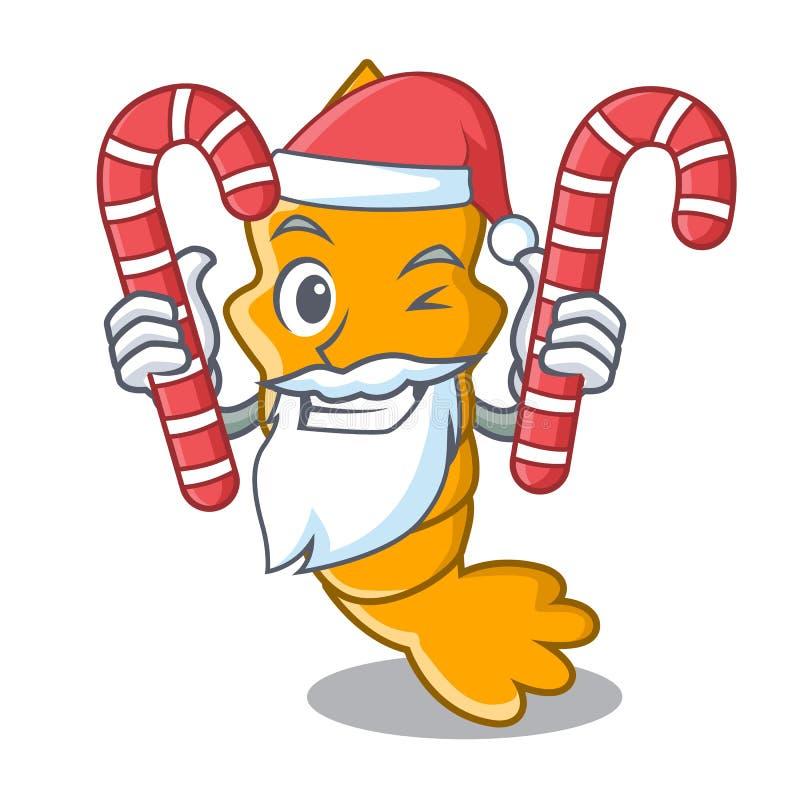 Santa con la caramella ha cotto a vapore il gamberetto crudo fresco sul fumetto della mascotte illustrazione di stock