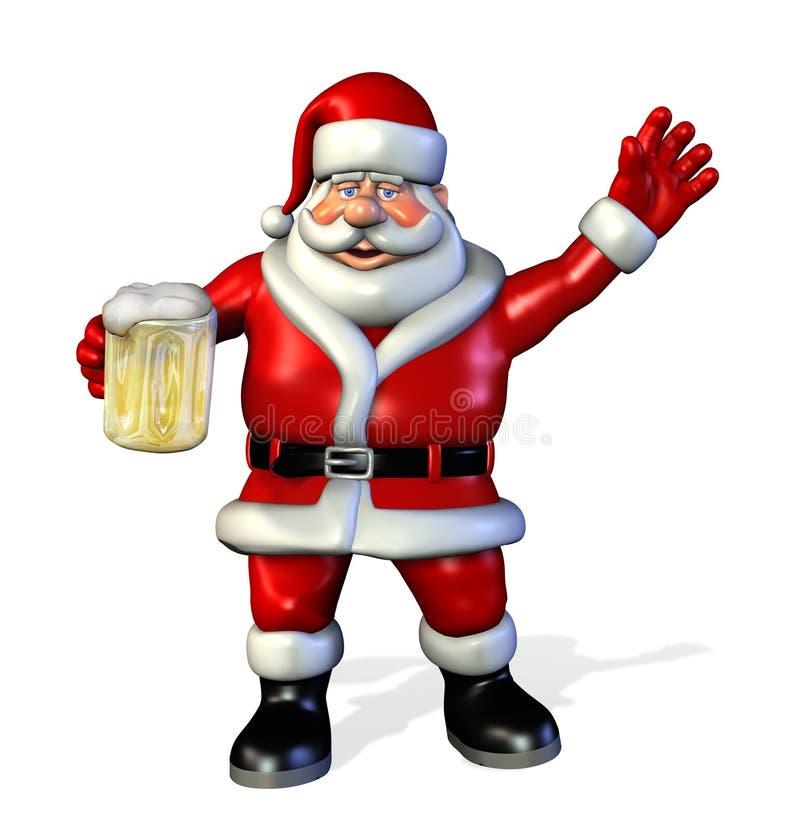 Santa con la cerveza stock de ilustración
