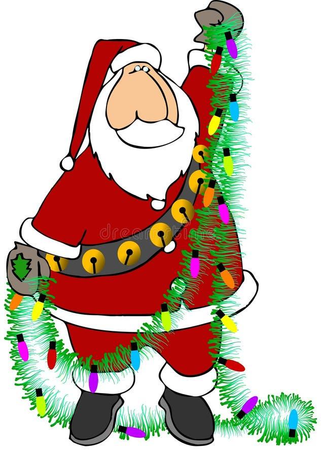Santa con la guirnalda stock de ilustración