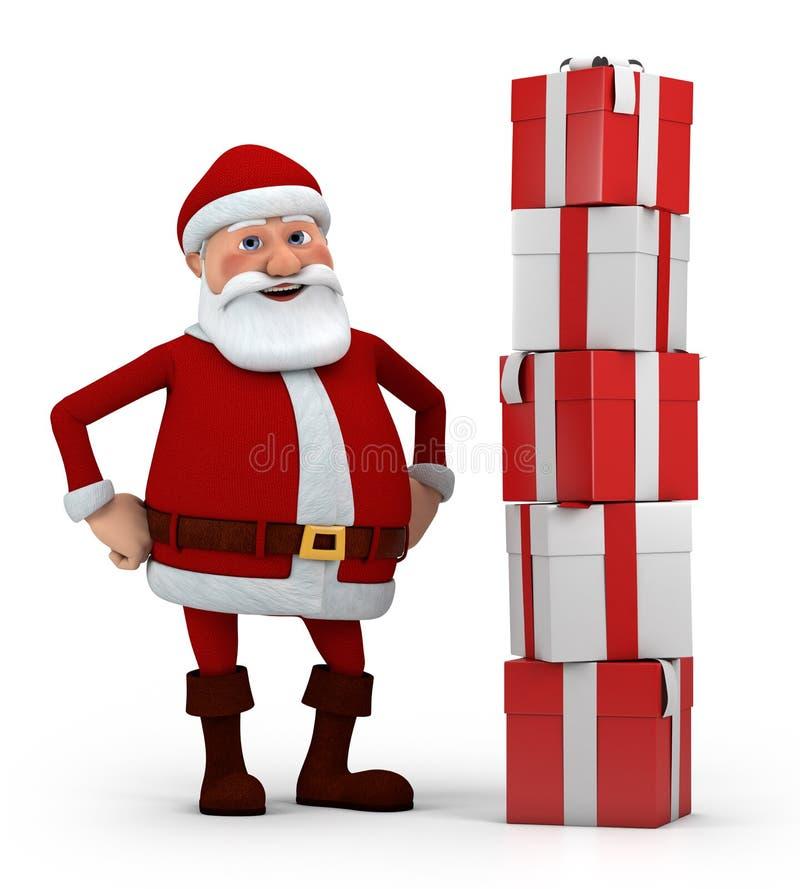 Santa con la pila di presente illustrazione vettoriale