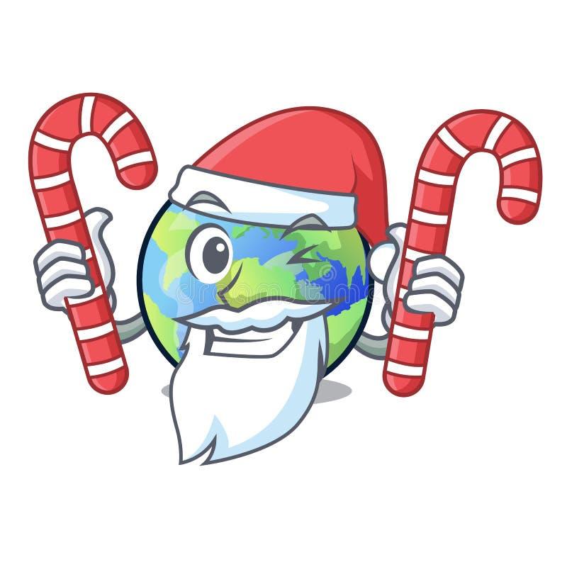 Santa con la terra della caramella isolata con nei fumetti royalty illustrazione gratis