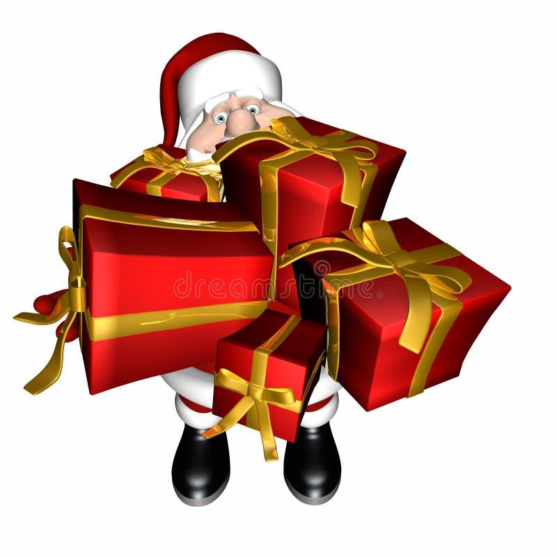 Santa con le braccia piene dei regali illustrazione vettoriale