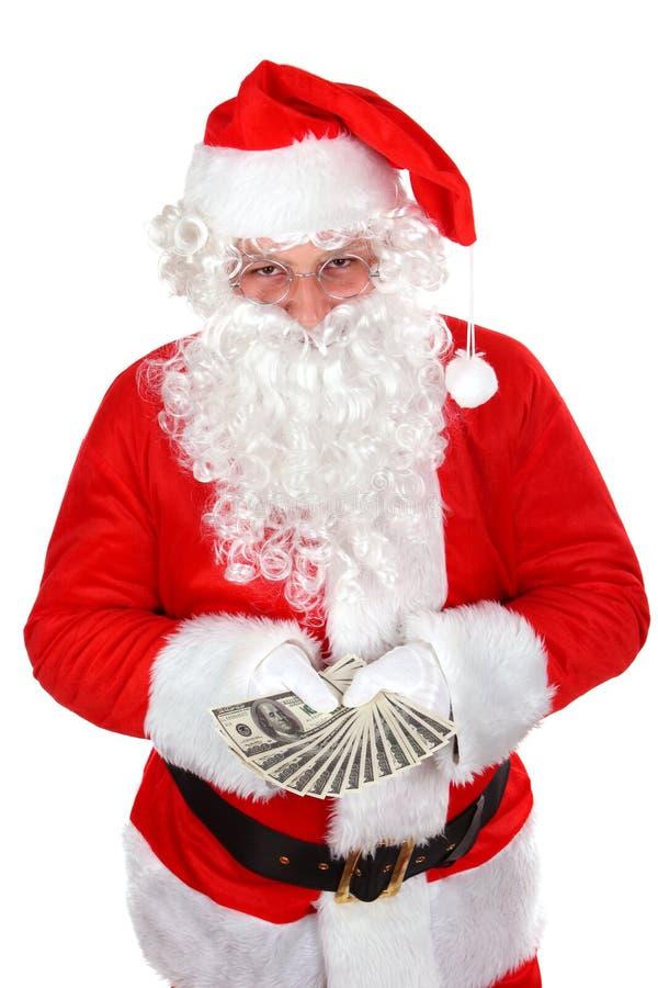 Santa Con Los Dólares Foto de archivo libre de regalías
