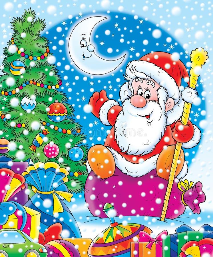 Santa con los regalos del Año Nuevo. stock de ilustración