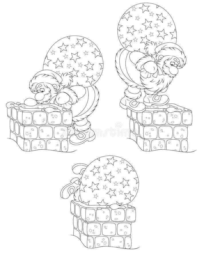 Santa con los regalos y la chimenea ilustración del vector