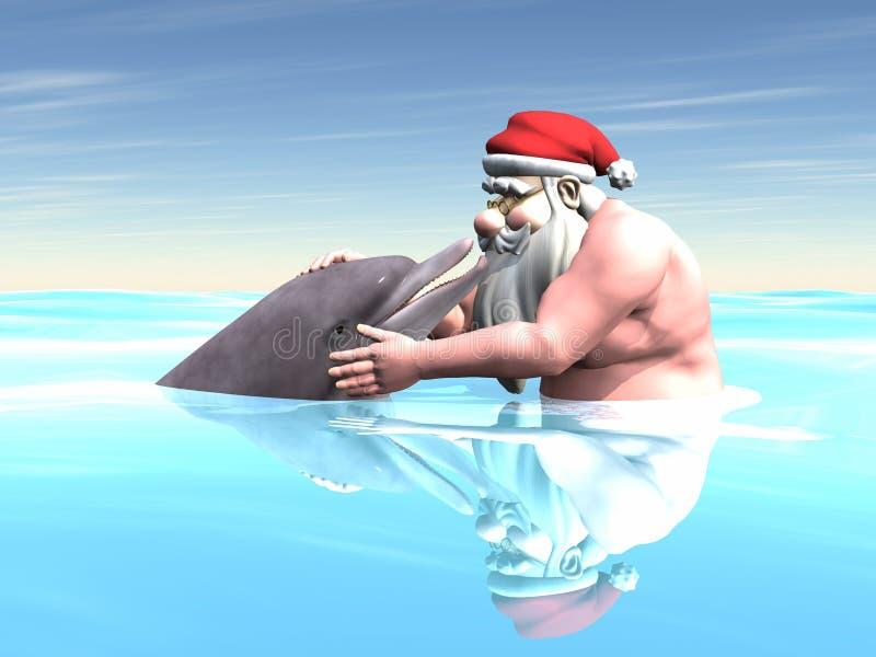 Santa con un delfino immagine stock libera da diritti