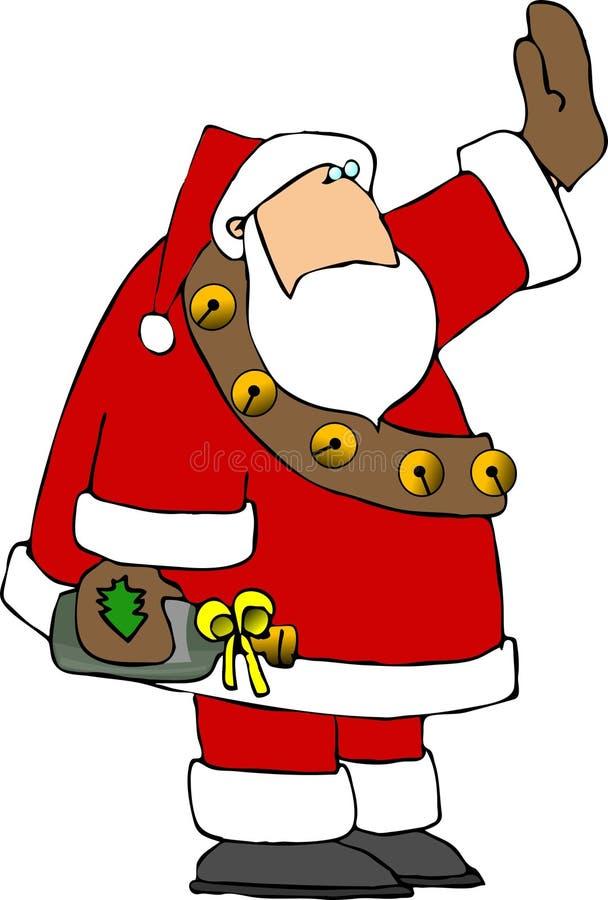 Santa con un regalo del vino stock de ilustración