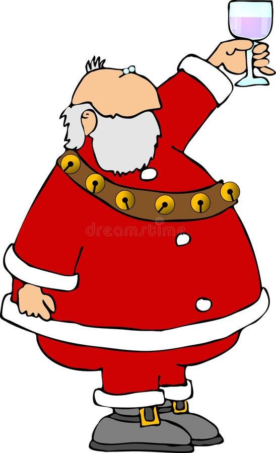 Santa con un vidrio de vino libre illustration